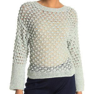 THEORY Lace Stitch Lt Blue Cotton Blend Pullover